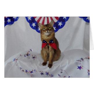 7月4日のための愛国心が強い子猫 カード