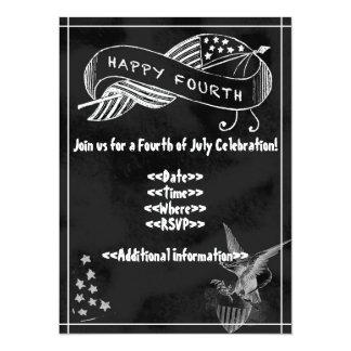 7月4日のパーティの招待状-黒板のスタイル カード