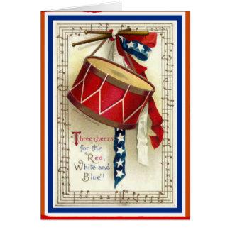 7月4日のヴィンテージの行進のドラム赤い白く及び青 カード