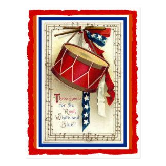 7月4日のヴィンテージの行進のドラム赤い白く及び青 ポストカード