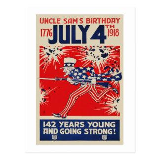 7月4日の米国市民誕生日WWIのプロパガンダ ポストカード