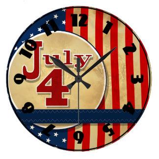 7月4日の米国旗の時計 ラージ壁時計