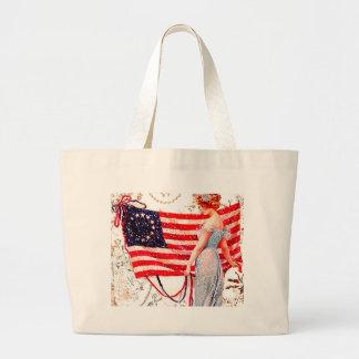 7月4日旗の女性ヴィンテージの郵便はがきの芸術 ラージトートバッグ
