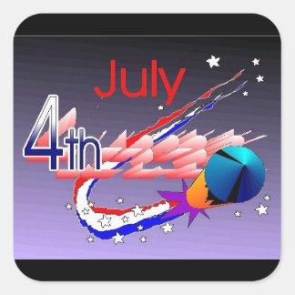 7月4日-正方形のステッカー スクエアシール