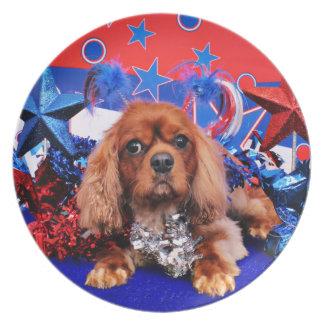 7月4日-無頓着なチャールズ王スパニエル犬-たる製造人 プレート