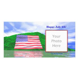 7月4日-米国旗の景色 カード