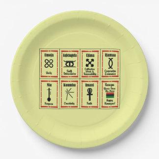 7枚の主義のKwanzaaのパーティーの紙皿 ペーパープレート