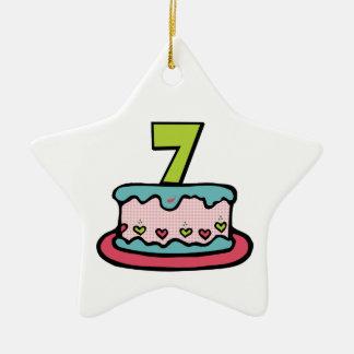 7歳のお誕生日ケーキ セラミックオーナメント