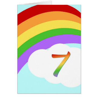 7歳児のための虹のバースデー・カード カード