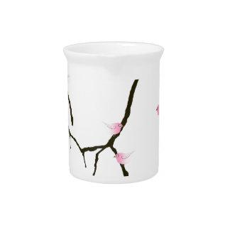 7羽のピンクの鳥2を持つ贅沢なfernandesの桜 ピッチャー