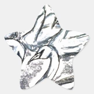 7羽の白鳥水泳 星シール