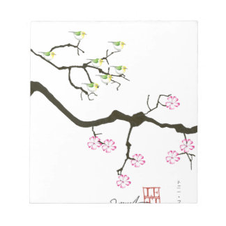 7羽の鳥、贅沢なfernandesが付いている7つの桜の花 ノートパッド