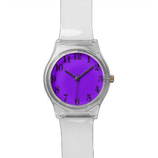 70年代の澄んなルーサイトのレトロの腕時計に戻る紫色! 腕時計