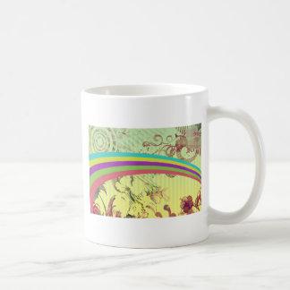 70年代のishのレトロの虹のフラワーパワー コーヒーマグカップ