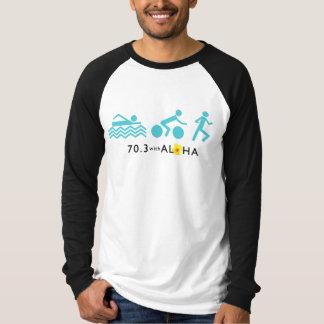 70.3アロハ人のキャンバスの長袖のRaglan Tを使って Tシャツ
