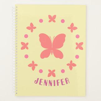70sスタイルのガーリーでかわいいピンクの蝶、点 プランナー手帳