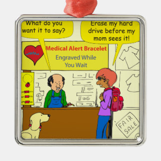 744医学の注意深い消去私のハード・ドライブの漫画 メタルオーナメント