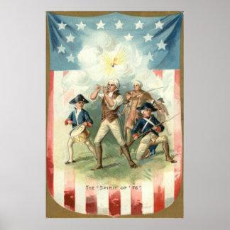 76人の兵士のドラマーの男の子の米国の旗の精神 ポスター