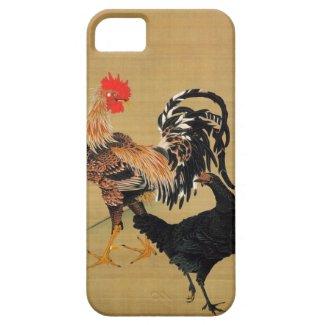 7. 大鶏雌雄図、鶏の若冲のカップル、Jakuchū iPhone 5 カバー