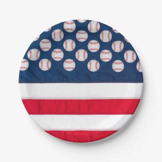 """7""""野球及び米国旗の紙皿 ペーパープレート"""