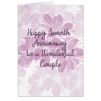 7th Wedding Anniversary Lavender Flowers カード
