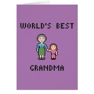 8つのビット世界で最も最高のな祖母の挨拶状 カード