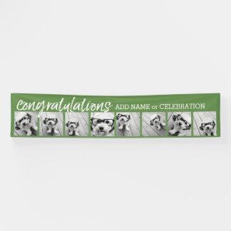 8つの写真のコラージュのカスタムの文字とのお祝い 横断幕