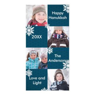 8つの正方形の青い雪-ハヌカーの写真カード カード