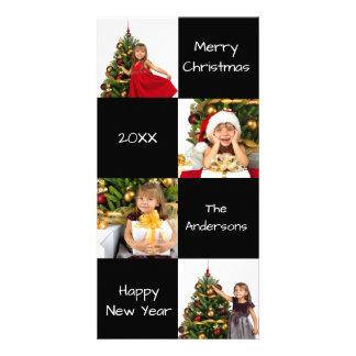 8つの正方形はモダン-クリスマスの写真カード--を黒くします カード