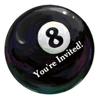 8つの球の芸術の誕生会の円形の招待状 カード