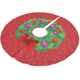 """""""8ビットクリスマスのリース""""の木のスカート(赤い) ブラッシュドポリエステルツリースカート"""