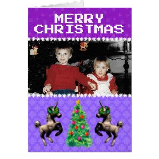 """""""8ビットクリスマス""""の写真の挨拶状(紫色) カード"""