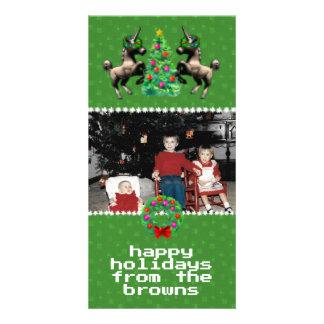 """""""8ビットクリスマス""""の写真の挨拶状(緑) カード"""