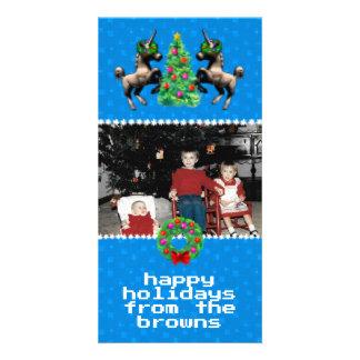 """""""8ビットクリスマス""""の写真の挨拶状(青い) カード"""