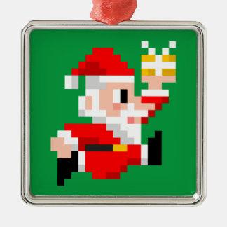 8ビットサンタクロースのクリスマスのオーナメント(正方形) メタルオーナメント