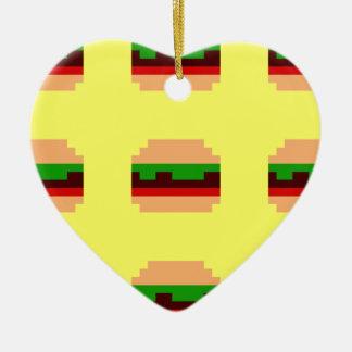 8ビットハンバーガーのデザイン セラミックオーナメント