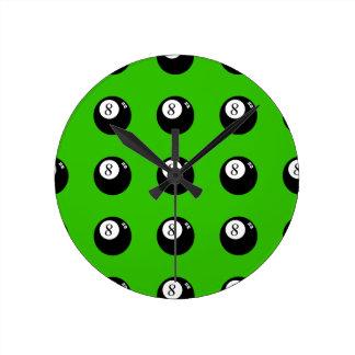 8ボールのプール ラウンド壁時計