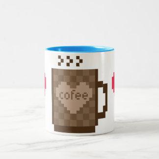 8人のビットコーヒーハートのバレンタインデー ツートーンマグカップ