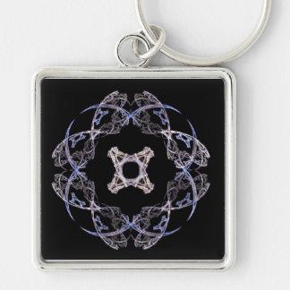8枚の花弁の青およびブラウンのフラクタルの芸術Keychain キーホルダー