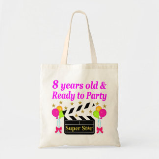 8歳および映画俳優のデザインをパーティを楽しむこと準備ができた トートバッグ