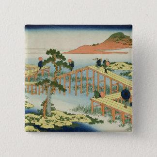 8部橋、Mucawa、日本、c.18の地域 5.1cm 正方形バッジ
