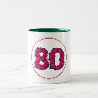 80の数第80誕生日記念日のかわいいピンクのマグ ツートーンマグカップ