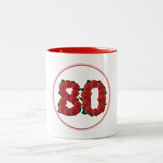 80の数第80誕生日記念日の赤のマグ ツートーンマグカップ