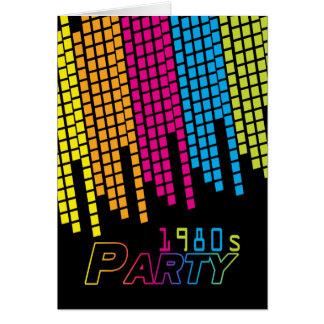 80カラー・グラフィックが付いている80年代のパーティの招待状カード カード