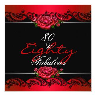 80及びすばらしい第80誕生会の赤いバラ カード