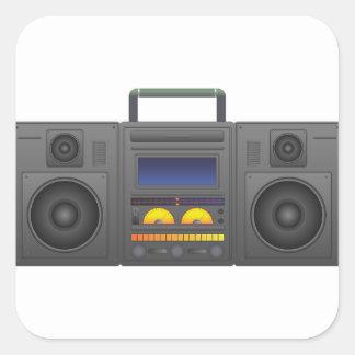 80年代のヒップホップのスタイルBoombox スクエアシール