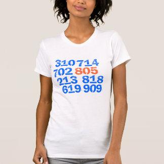 805、619、714、702、818、213、909、310 Tシャツ