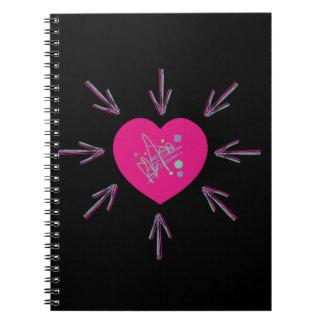 80sハートの八十年代ピンク色のしぶきのメドレーの女の子 ノートブック