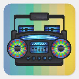 80sレトロのラジオ-携帯用ステレオ スクエアシール