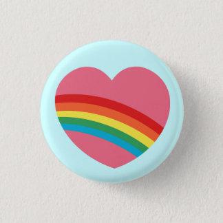 80s虹のハートボタン 3.2cm 丸型バッジ